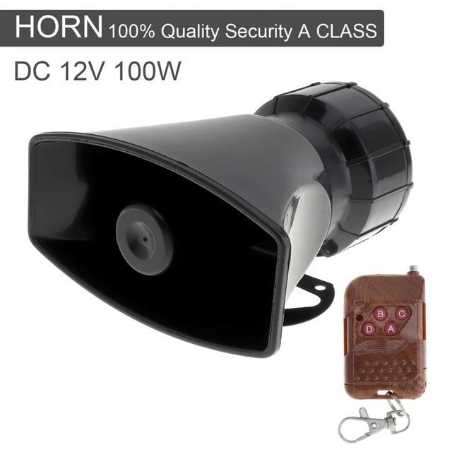 12V 100W 7 Sound Loud Car Warning Alarm Police Fire Siren Horn Speaker with Brown Wireless Remote Controller