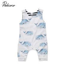 Newborn Infant Baby Boys Girls Whale Romper Jumpsuit Outfit Clothes Set