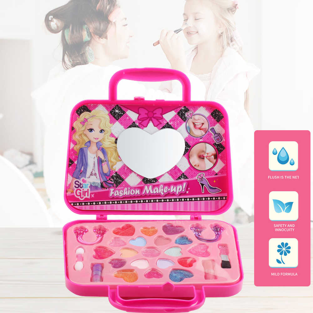 Kids Dress-Up Toy Makeup Set Pretend Play Girls Cosmetics Kit eye shadow, lip gloss,lipsticks,brushes, head ropes Beauty Safety