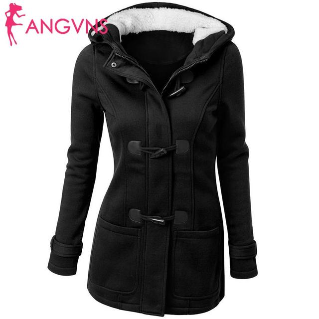 ANGVNS Women Overcoat Autumn Hooded Coat  Fashion Long Sleeve  Zipper Casual Regular Buckle Pockets Outwear  4