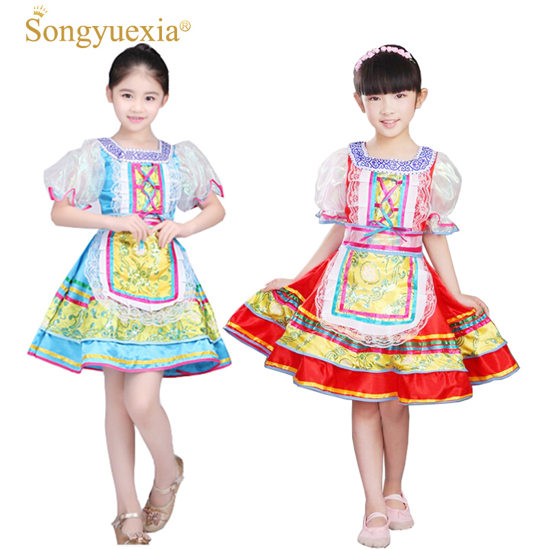 Songyuexia Russian National Costumes Modern Stage Costumes Children Dance Princess Dress Girl Party Show Dance Dress