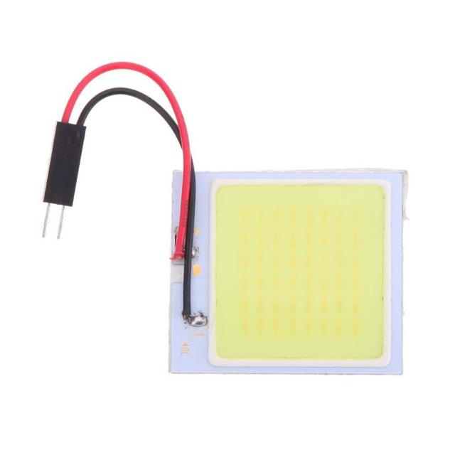 12V Car Led Light COB 48 SMD Reading Dome Festoon Lamp Bulb Auto Interior Light-emitting Diode Light Panel w/ T10 Adapter Auto