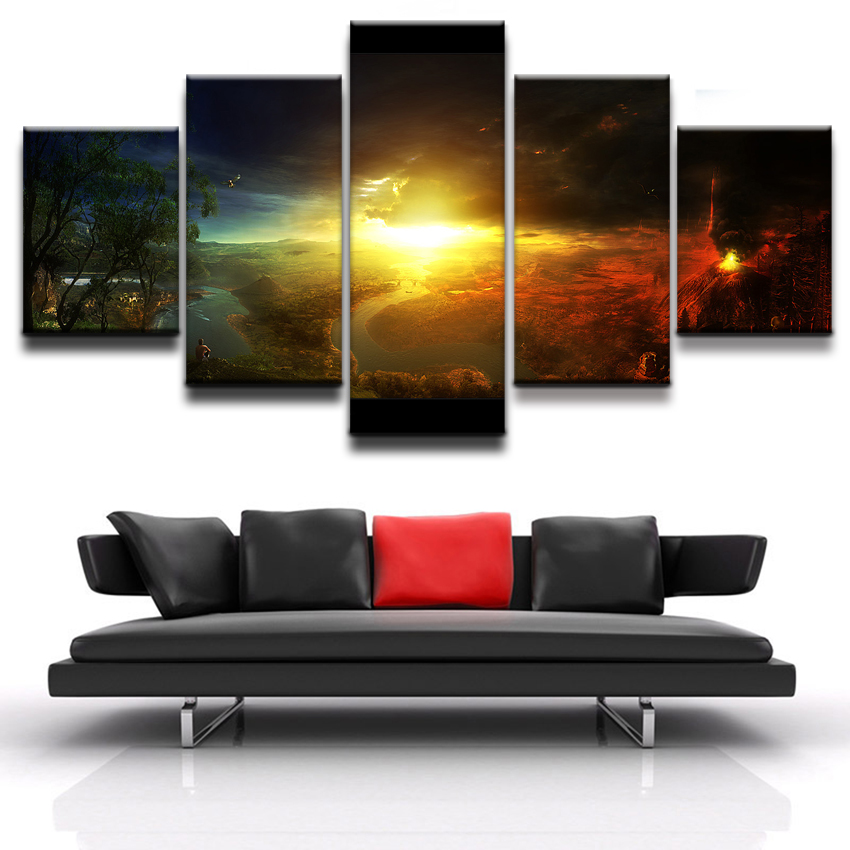 Modern Home Wall Art Decor Frame Modular Canvas Oil Pictures HD Print Painting 5 Panel Landscape Of Volcanic Eruptions Poster in Painting Calligraphy from Home Garden
