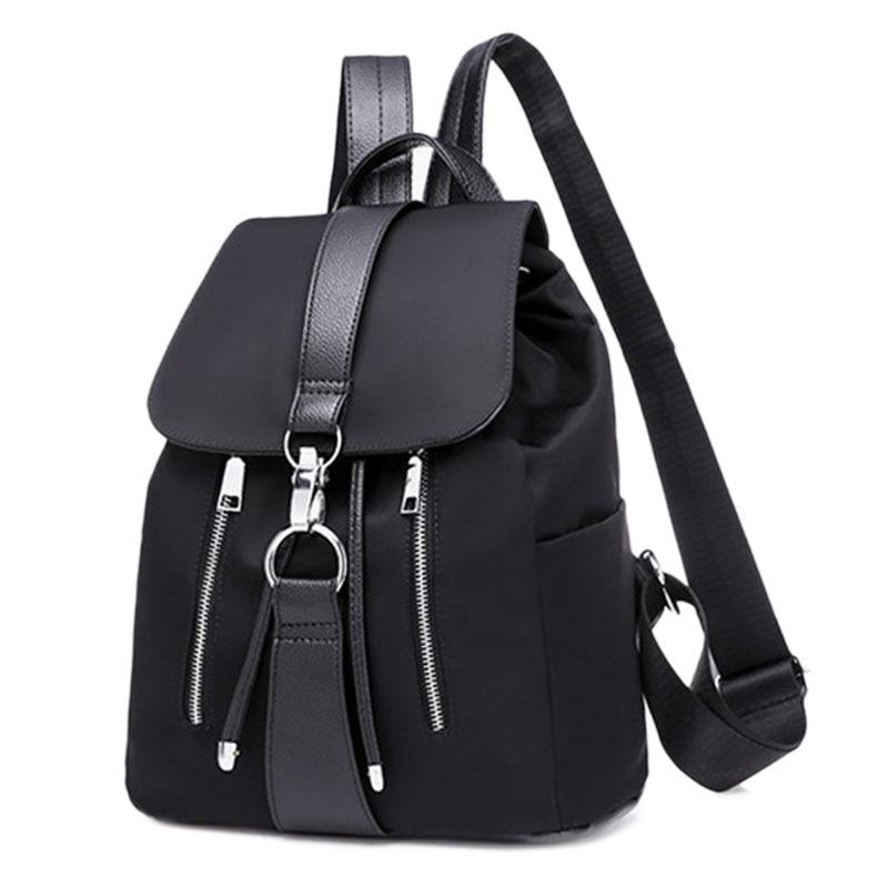 Fashion Waterproof Oxford PU Leather Backpack Girls School Bag Shoulder Bag Women Backpacks(Black)