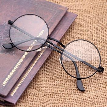 5 Colors Luxury Round reflective film lens Plain Glasses Metal Decorative Harajuku Style UV400 protection Prince Optical Glasses