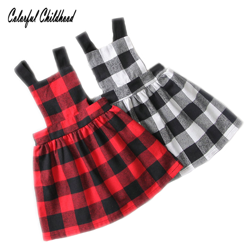 Vintage red/black plaid strap dress for girls clothing summer kids suspender dress children clothing 2-6Yrs plaid