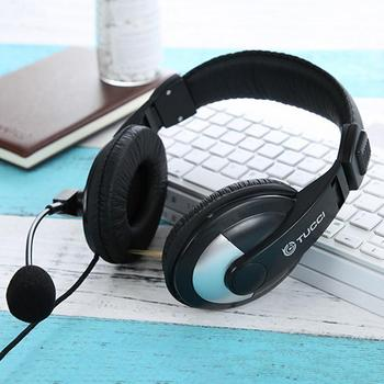 New Headset With Microphone Wire Control Computer Headphone Internet Cafe 3d Earmuffs Comfortable To Wear High Quality Stylish