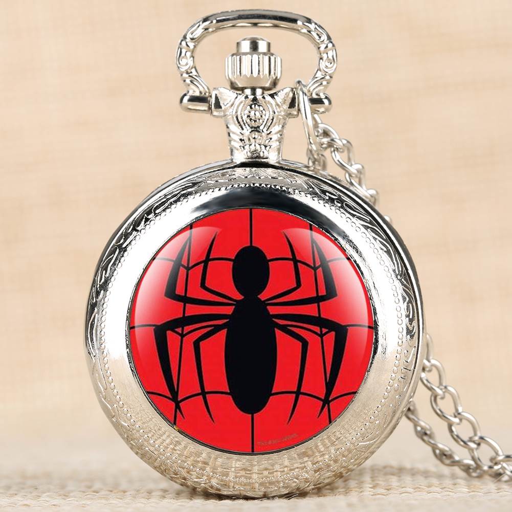 Movie Theme Spider Man Quartz Pocket Watch Retro Pendant Clock Fob Necklace Chain Best Gifts For Boys Support Dropshipping