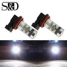 2Pcs H8 H11 LED Bulb 9006 HB4 9005 HB3 Car Fog Lights 12V~24V 20 SMD Daytime Running Lamp DRL Auto Led Light 6000K White