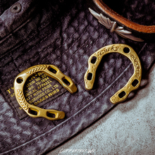 Coppertist.Wu Lucky horseshoe Handmade Vintage Pendant keychain brass key chain gold fashion talisman ring