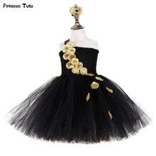 Black Gold Flower Petals Tutu Dress Tulle Girls Evening Pageant Wedding Dress Children Gown for Girls Kids Birthday Party Dress