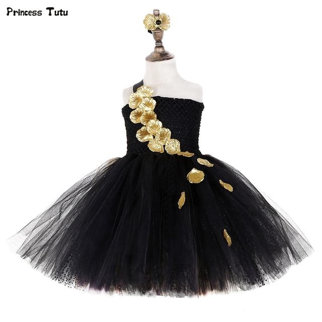Vestido de tutú de pétalos de flores doradas negras para niñas tutú de tul para desfile de noche, vestido de boda para niñas, vestido de fiesta de cumpleaños