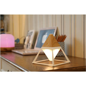 Desk-Lamp Wood-Pyramid Eye-Protection Usb-Charging Ip63-Night-Light Led with Color-Fr221