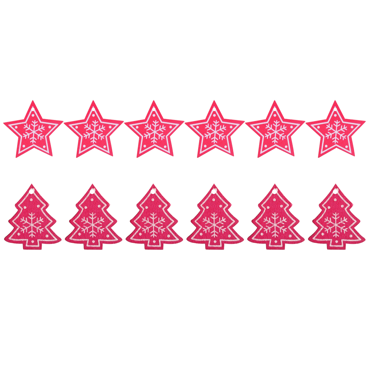 12pcs Party Supplies DIY Gifts Christmas Tree Decoration Wooden Ornaments Xmas Hanging Star & Christmas tree