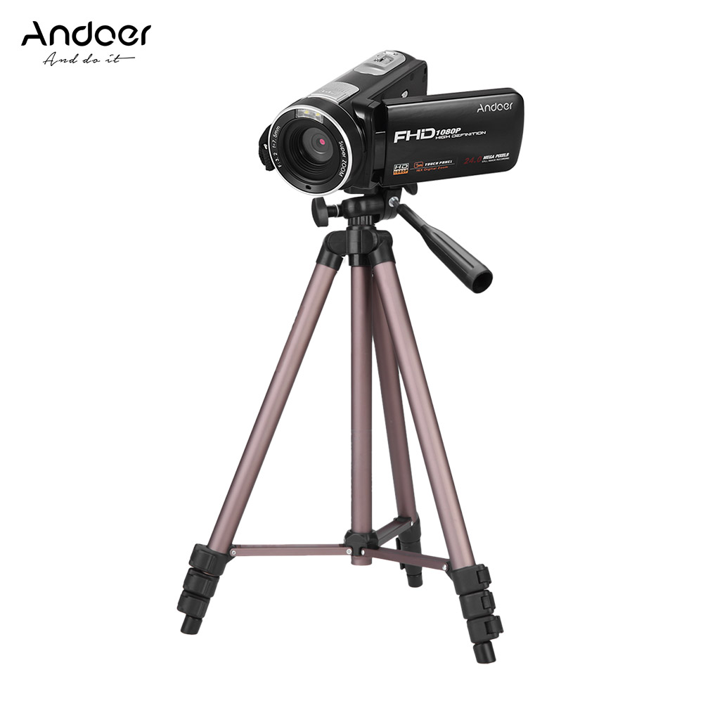 Andoer Portable FHD 1080P Digital Video Camera Camcorder DV Recorder Weifeng WT3130 Camera Tripod with Battery