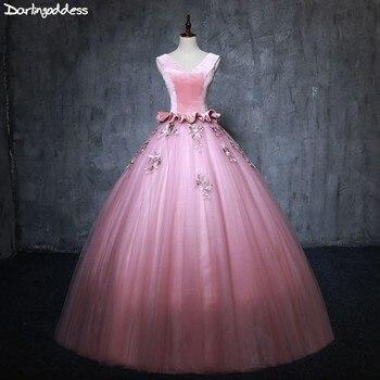 1347a8e2c0 Vestidos De quinceañera Rosa dulce 16 vestidos para 15 años cuello en V  espalda descubierta De encaje Vestido De fiesta vestidos De fiesta Vestido  De ...