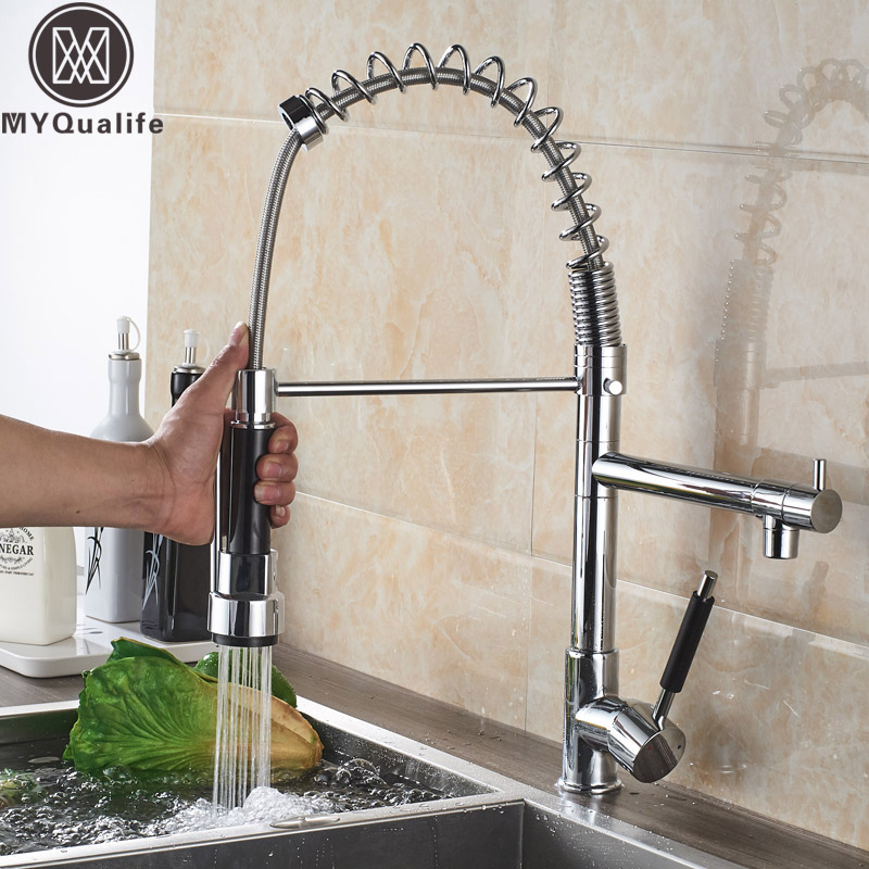 Spring Pull Down Kitchen Mixer Faucet Deck Mounted Dual Spout Kitchen Sink Crane Taps Chrome Finish Handheld Sprayer Shower Head
