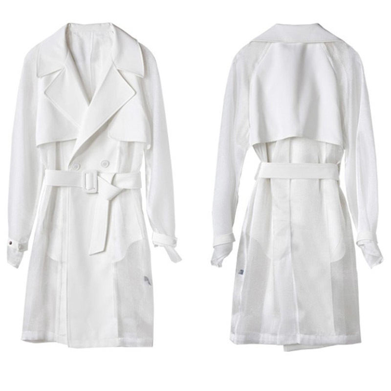 Mode eam De Tempérament 2019 Printemps Noir Femmes La361 Blanc Supérieure Nouveau Coupe Réglable White Spliced Taille Qualité vent Mesh Frnaq8xrI