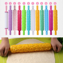 Patterned Rolling Pin 1 PC Different Patterns Non-Stick Embossed Roller Cake Decorating Baking Tool Kitchen Accessories