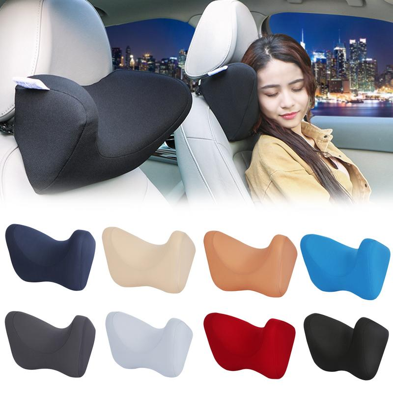Car Headrest Neck Pillow For Seat Chair In Auto Memory Foam Cotton Cushion Fabric Cover Soft Head Rest Travel Office Support
