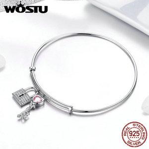 Image 4 - WOSTU, новинка, 100% Стерлинговое Серебро 925 пробы, браслеты с ключом и замком для женщин, браслеты для свадьбы, помолвки, серебро 925 пробы, ювелирное изделие, подарок для любви, CQB127