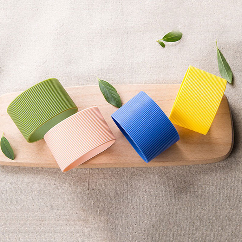 6.5 Dia Colorful Silicone Heat Insulated Cup Sleeve Stripes Dense Stripes Design Non-slip Wraps For Mugs Ceramic Cup Plumyl