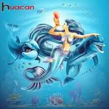 Haucan Diamond Embroidery Dolphin Cross Stitch Painting Full Square Mermaid Picture Rhinestones Beadwork Mosaic
