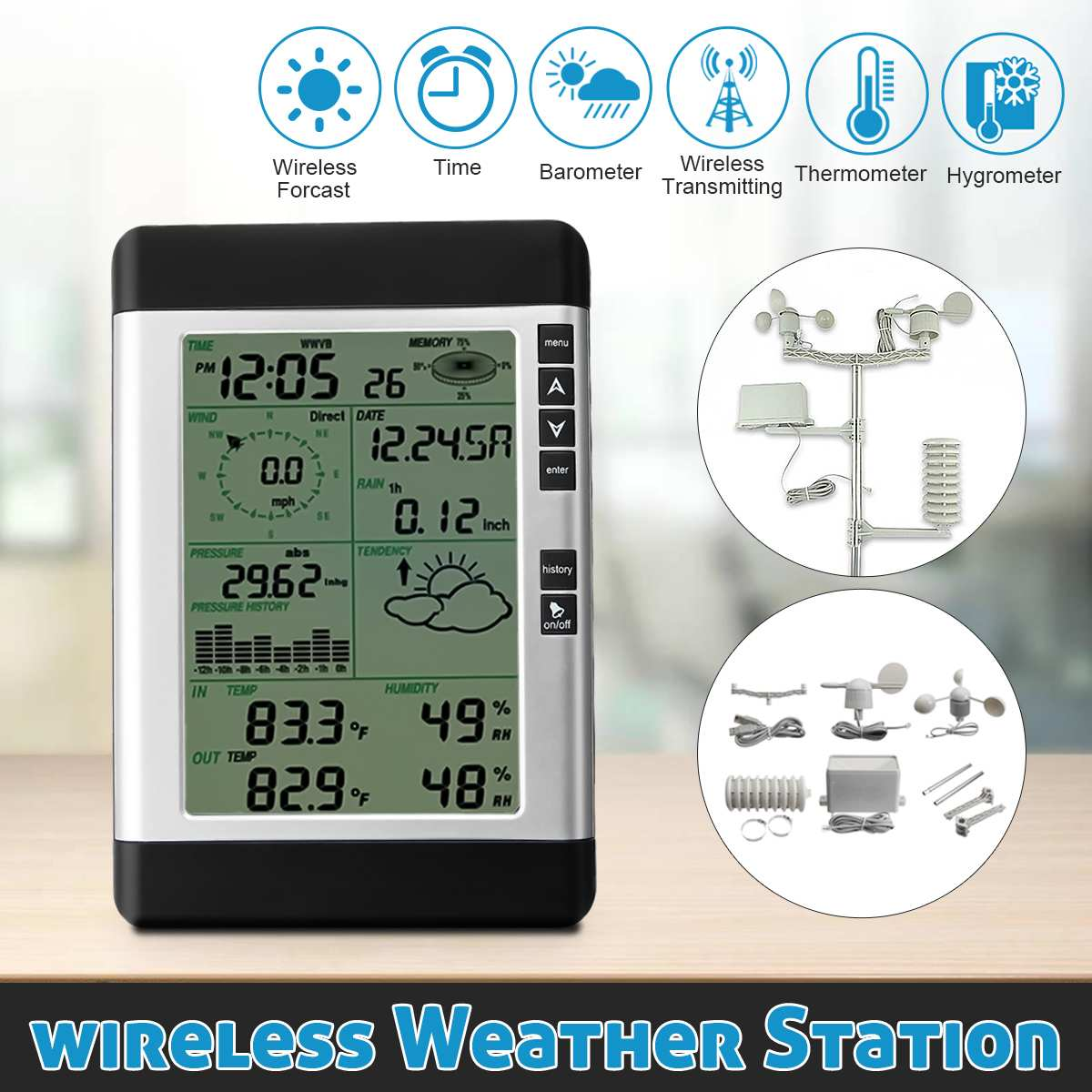 USB Wireless Weather Station& Household LCD Thermometer Hygrometer Forecast Sensor Barometric Pressure Weather Forecast Clock hongyang t18040 1 5 lcd weather forecast thermometer hygrometer blue black