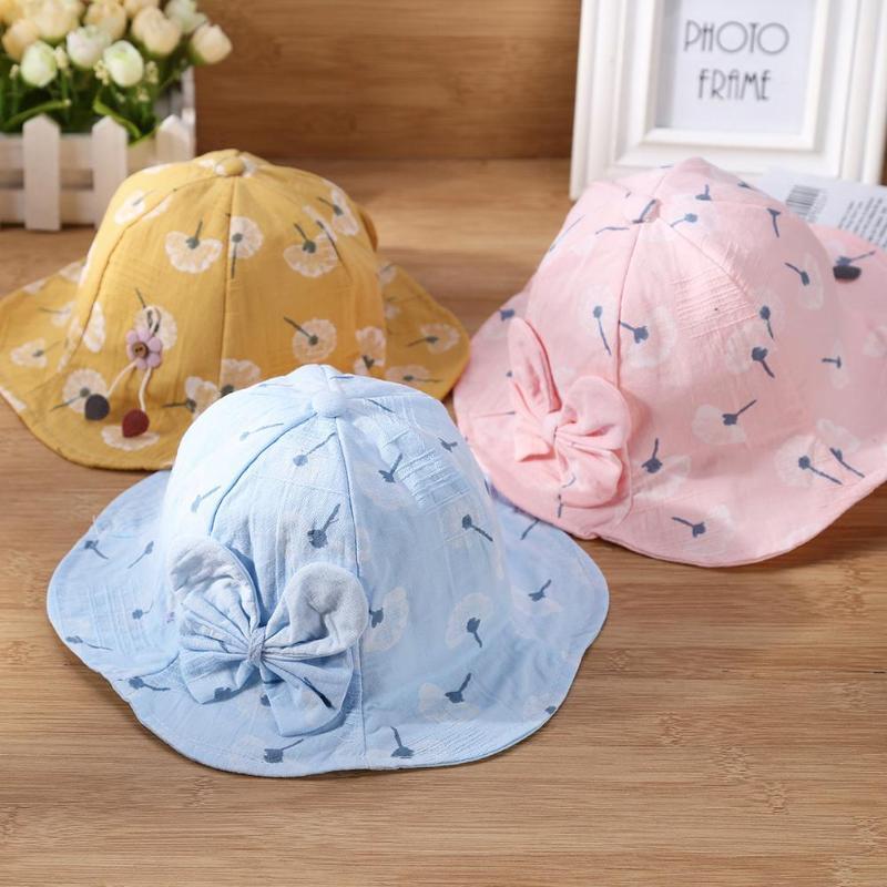 Cute Bow Flower Print Ruffled Soft Brim Girl Princess Hat Sun Beach Cap Outdoor Bucket Hats Profit Small Hats & Caps