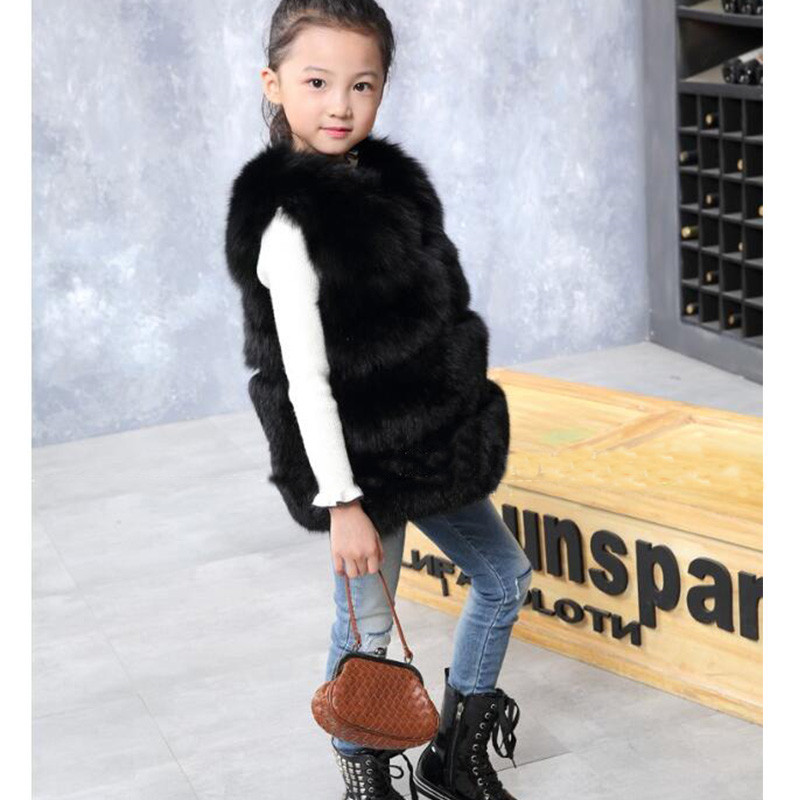 Fashion Kids Fox Fur Vest Baby Girls Autumn Winter Warm Thick Fur Vest Children Multiple Colour Vests Waist fur Vest V#1 2017 children s real raccoon fur vest baby girls autumn winter thick warm long fur outerwear vest kids solid v neck vests v 13