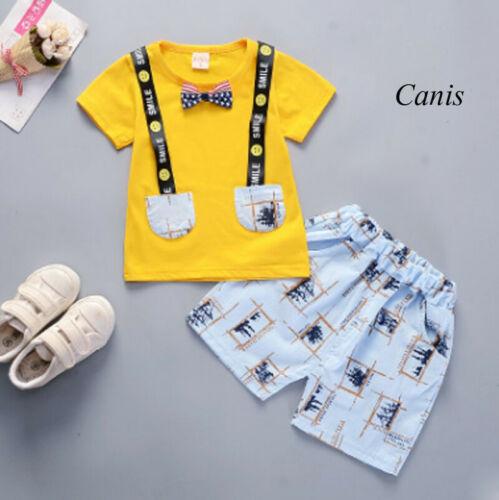 3Pcs Newborn Kid Baby Boy Clothes Short Sleeve Tops+Pants+Tie  Gentleman Outfit Children Set  Clothes Summer