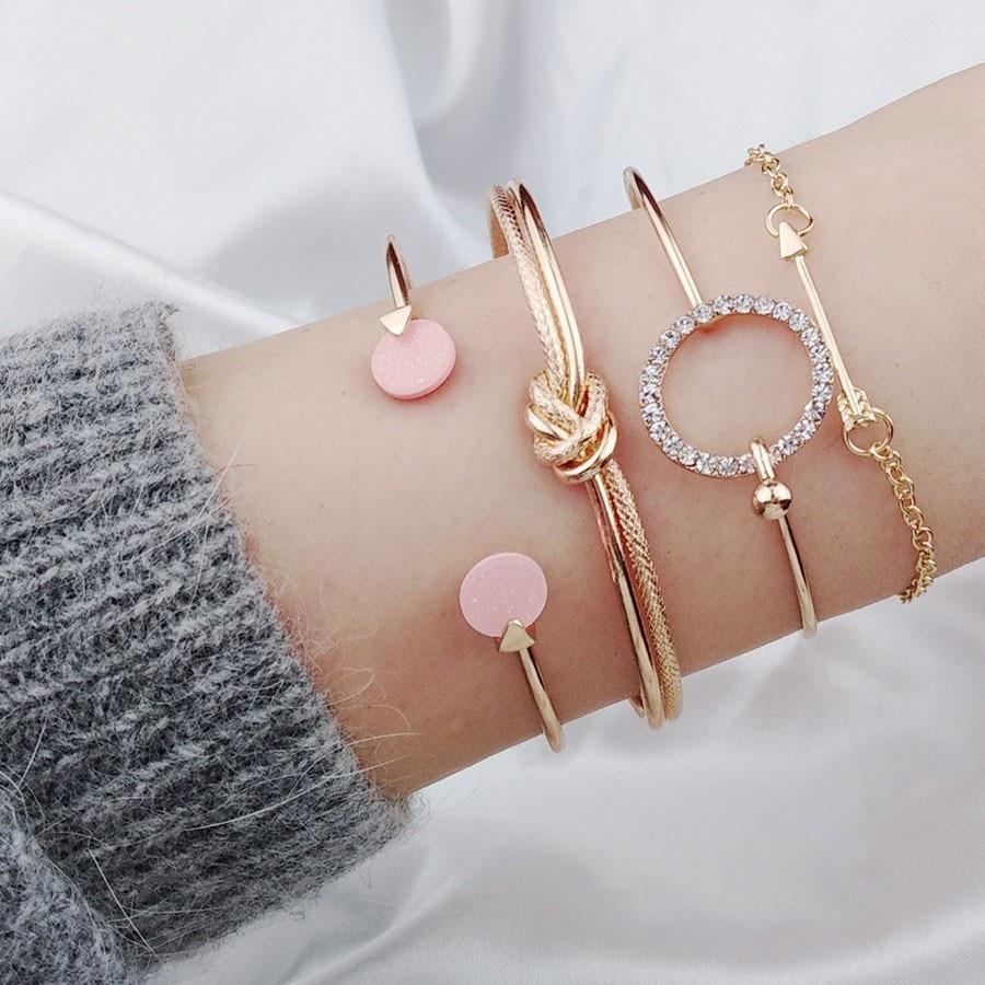 Set Gold Arrow Knot Bangle Opening Adjustable Bracelets  Fashion Women Jewelry
