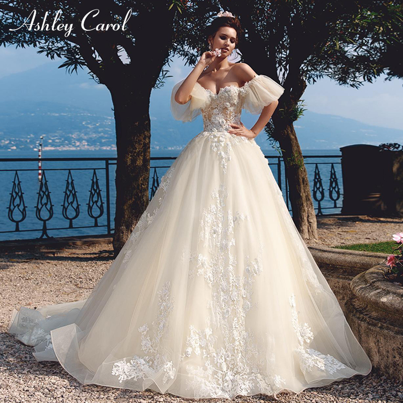 Ashley Carol Vintage Wedding Dress 2019 Glamorous Sweetheart Cap Sleeve Dream Princess Bride Gown Customized Vestido De Noiva