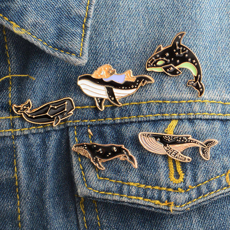 Kid Shark Sweater Constellation Cartoon Valentines Gift Seaside Brooch Exquesite Black Denim Jeans 1PC Enamel Lonely Whale