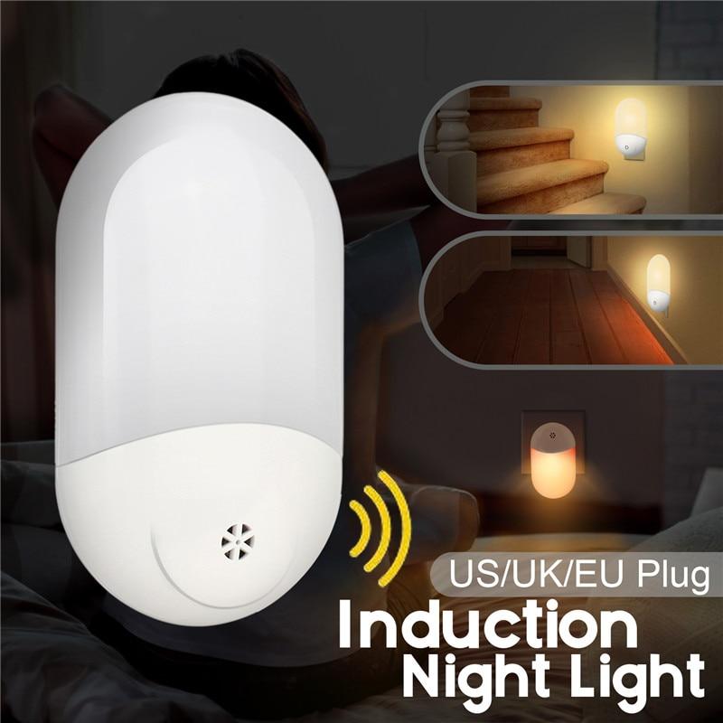 1pcs LED PIR Motion Sensor Smart Night Light AC 100-240V For Bathroom Home Lamp Lighting Bulb US UK EU Plug Warm White