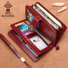 Customized Rfid Europe And America Wallet Female Long Zipper Leather Ms. Large Capacity Clutch