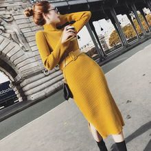 2019 Autumn And Winter Long Knitting dress slim thin overknee pencil rendering sweater package hip