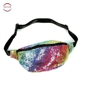 2019 New Design Glitter Women Pouch Hip Purse Fashion Sequin Fanny Pack Female Rainbow Color Belt Bum Bag Waist Packs