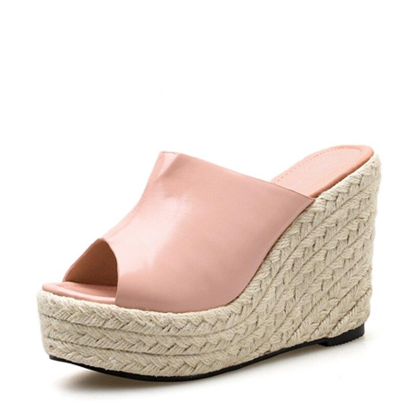 GBHHYNLH Woman Beach flip flops flower women summer slipper low heel shoes footwear slippers black Wedges striped shoes LJA635 in Slippers from Shoes