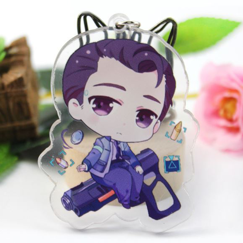 1 Pc Creative Acrylic Keychain Anime Detroit: Become Human Connor Model Pendant Key Chain Cosplay Figure Toy