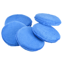 Mayitr 5 Pcs Microfiber Car Waxing Polish Foam Sponge Pad Wax Applicator Cleaning Detailing Pads Blue Mat Diameter inch