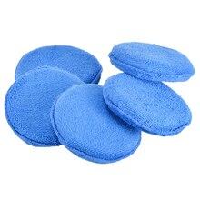 Mayitr 5 Pcs Microfiber Car Waxing Polish Foam Sponge Pad Wax Applicator Cleaning Detailing Pads Blue Mat Diameter inch