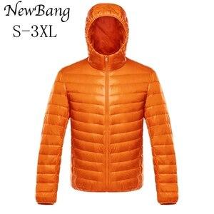 Image 1 - NewBang duvet manteau mâle Ultra léger doudoune hommes chaud vestes coupe vent léger manteau plume bouffante Parka plume manteau