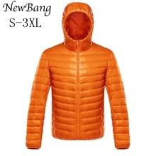 NewBang למטה מעיל זכר קל במיוחד למטה מעיל גברים של מעילים חמים מעיל רוח מעיל קל משקל נוצה במקומות Parka מעיל נוצות