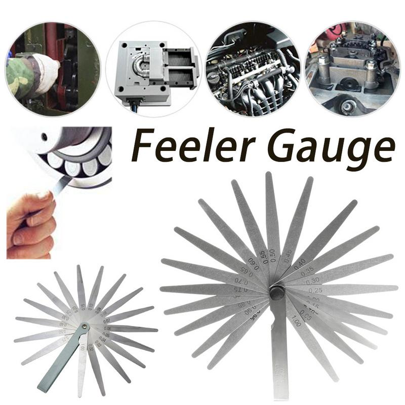 1 Set Metric Feeler Gauge 17 Blades 0.02-1.00mm Measurements Tools Stainless Steel Foldable Thickness Gap Filler Feeler Gauges