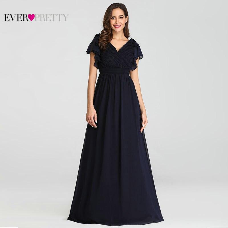 Ever Pretty Navy Blue Elegant Evening Dresses 2020 Long A-line Chiffon V-neck Elegant Party Gowns Plus Size Wedding Party Gowns