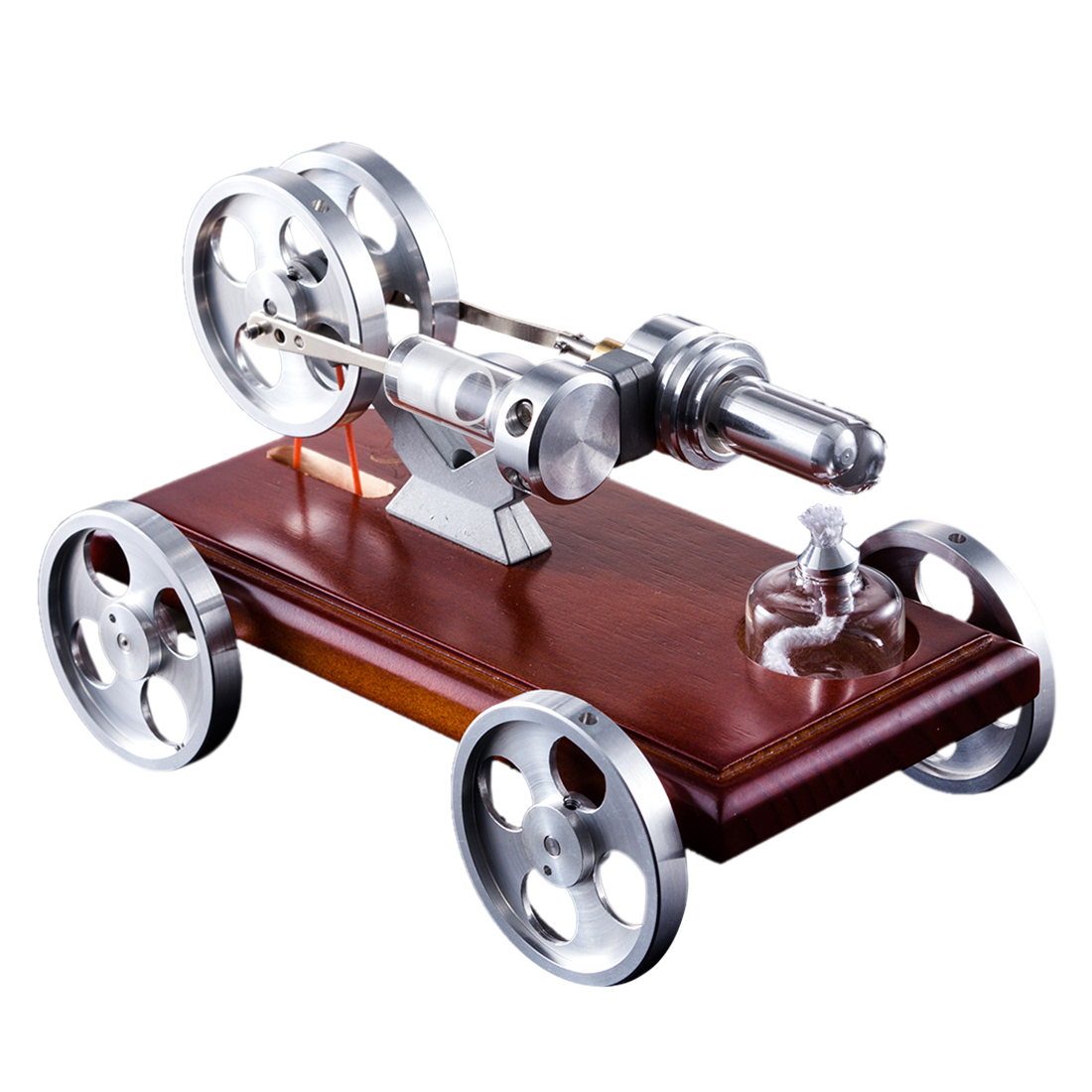 Hot Discovery Toys Solid Wood Baseplate DIY Stirling Engine Car Stem Steam Model Set Educational Toy Gift For Kid Children Adult