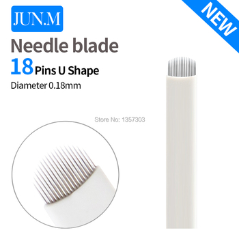 500 Pcs 0.18mm 18 Pin U Shape Eyebrow Tattoo Superior Microblading Blades For Permanent Makeup Manual Pen 3D Eyebrow Embroidery