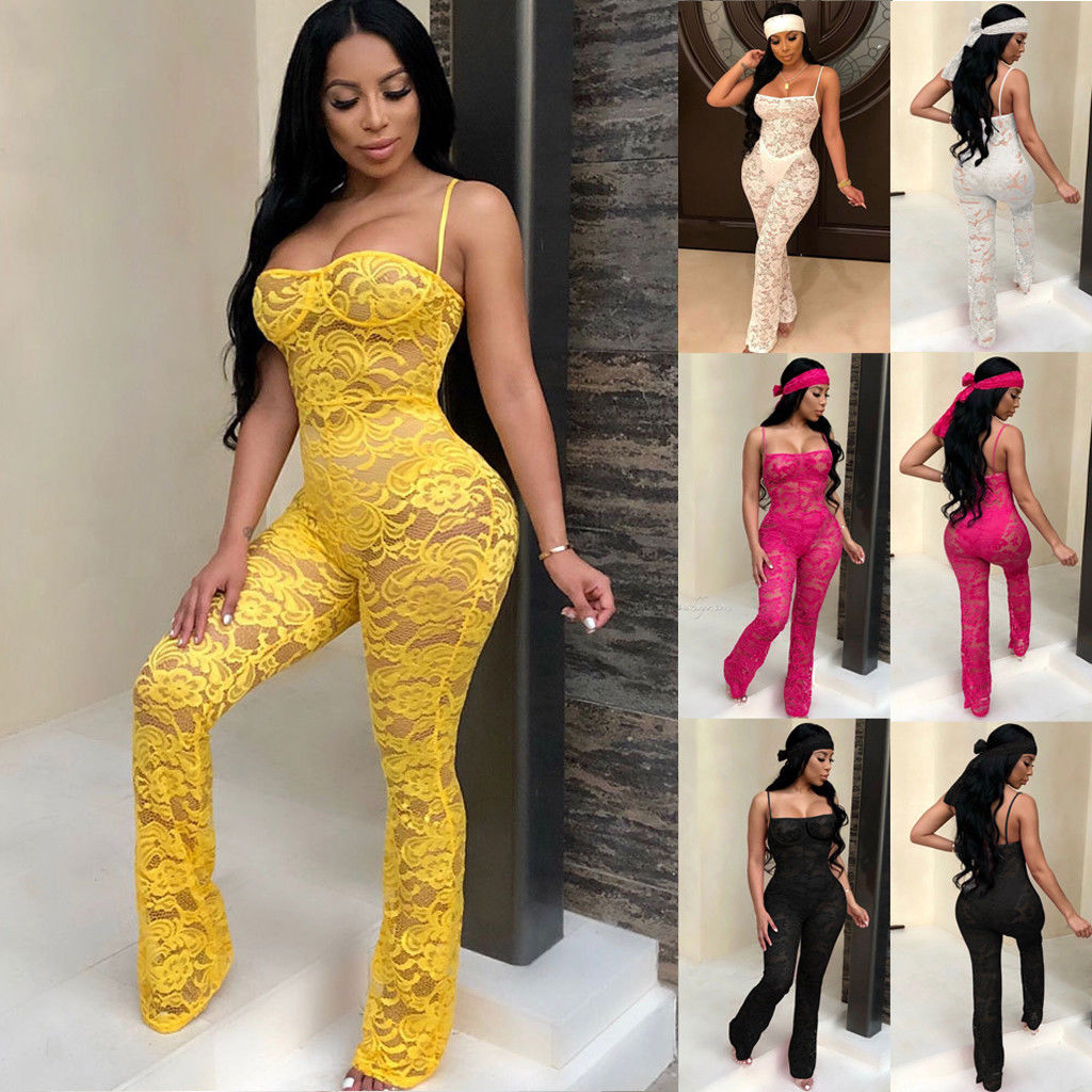 Lace   Jumpsuit   2019 New Fashion Rompers Womens   Jumpsuits   Clubwear Playsuit Hollow Out Party Chiffon Outweaer Clothes