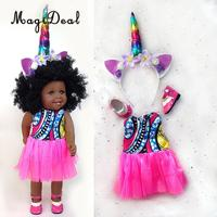 Lifelike 18inch Eco friendly Vinyl African American Doll Newborn Baby Doll with Unicorn Head Band Kids Birthday Gift